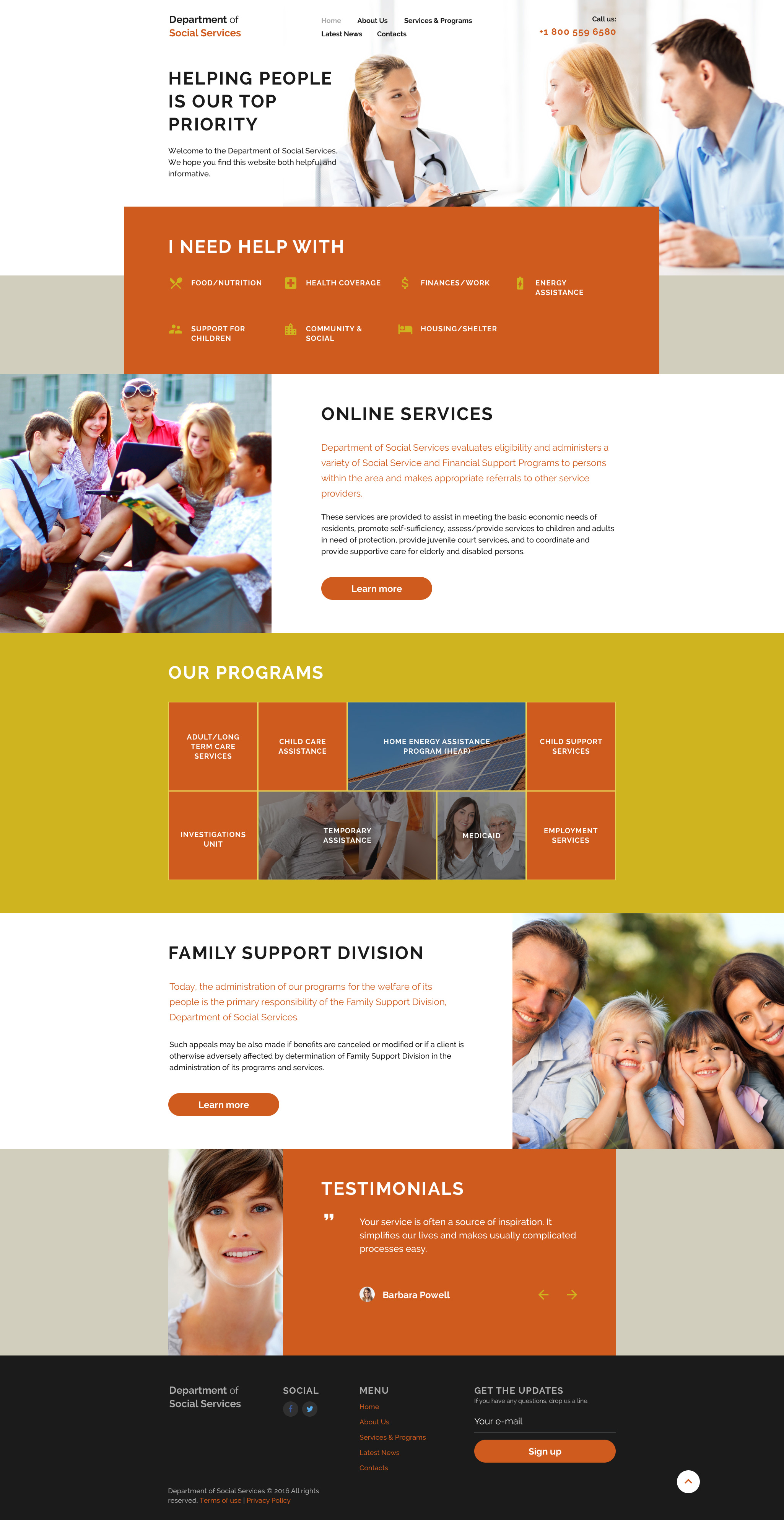 Department of social services Website Template
