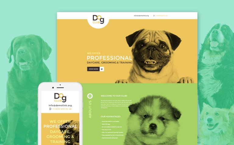 Dog Responsive Landing Page Template #58095