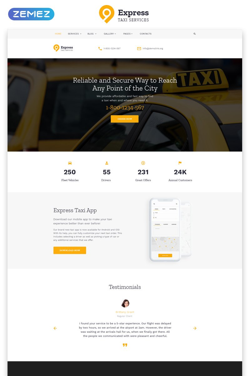"""Express - Taxi Services Multipage HTML"" Responsive Website template №58064"