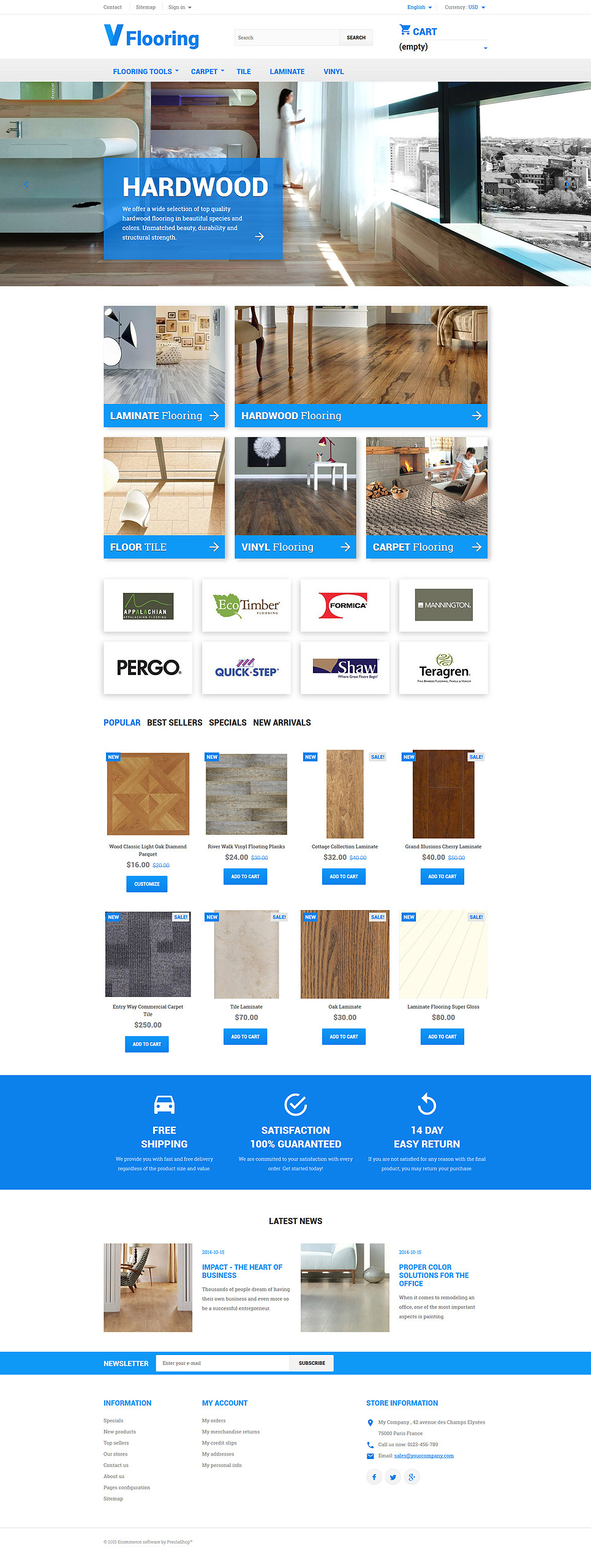 Flooring PrestaShop Theme New Screenshots BIG