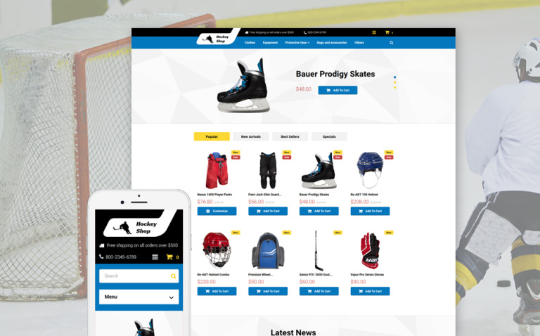 Hockey Shop PrestaShop Theme New Screenshots BIG