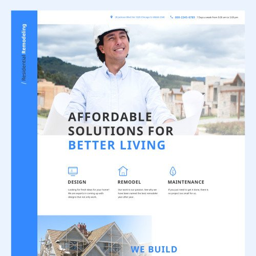 Residential Remodeling - HTML5 Landing Page Template