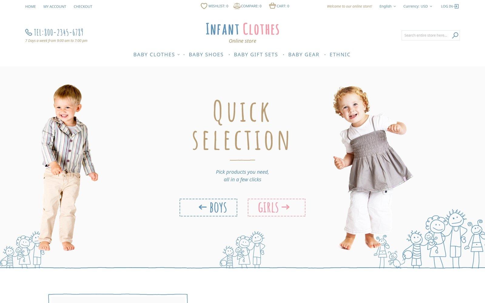 """Infant Clothes"" - адаптивний Magento шаблон №58079"
