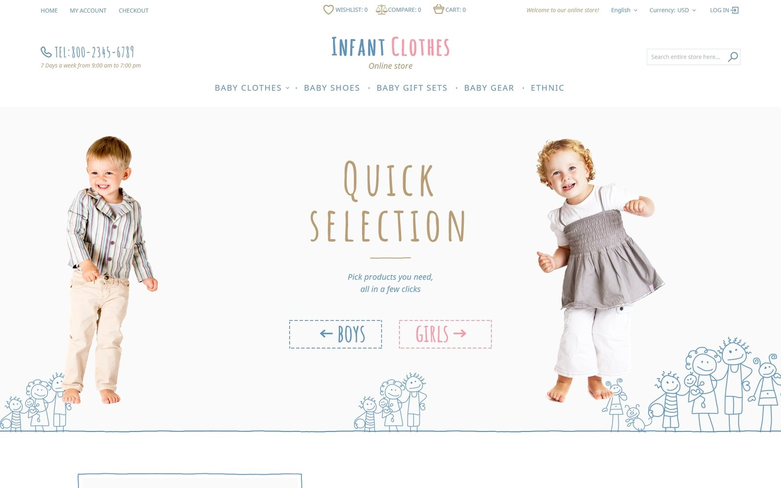 """""""Infant Clothes"""" 响应式Magento模板 #58079"""