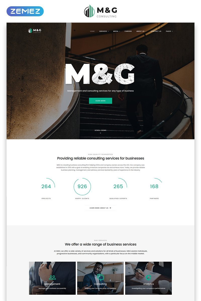 """M&G - Consulting Multipage HTML5"" 响应式网页模板 #58071"