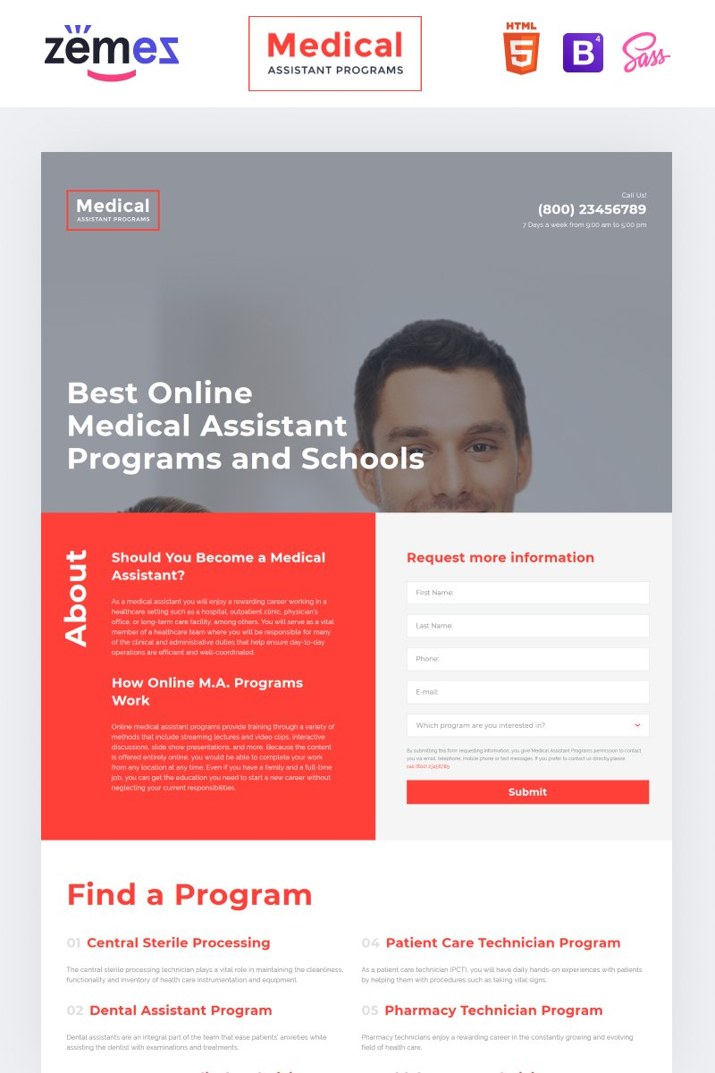 "Modello di Landing Page Responsive #58055 ""Medical Assistance Program - Medical School Clean HTML"""