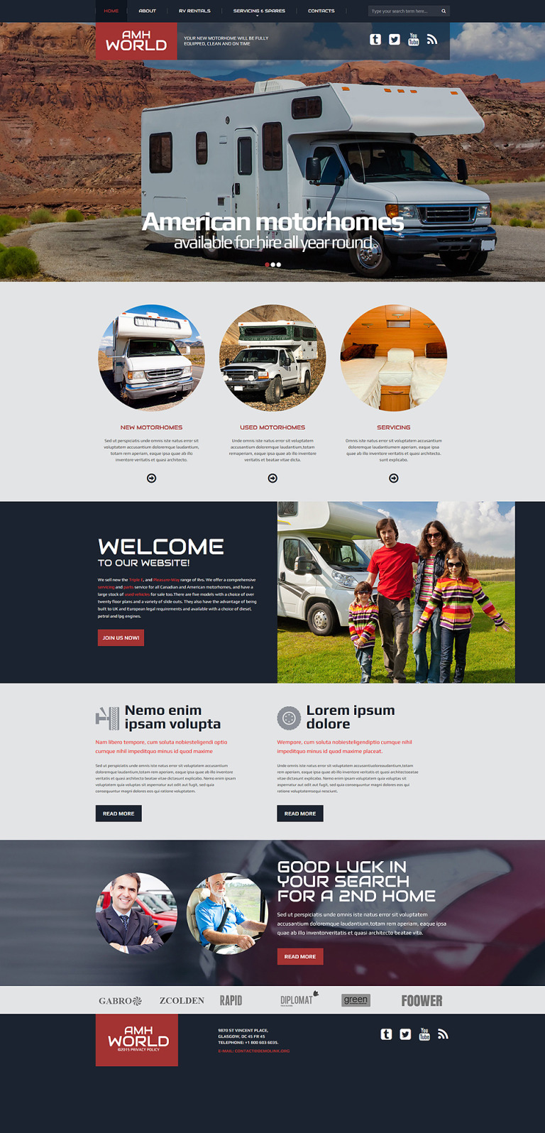 Motor Homes & RVs Responsive Website Template New Screenshots BIG