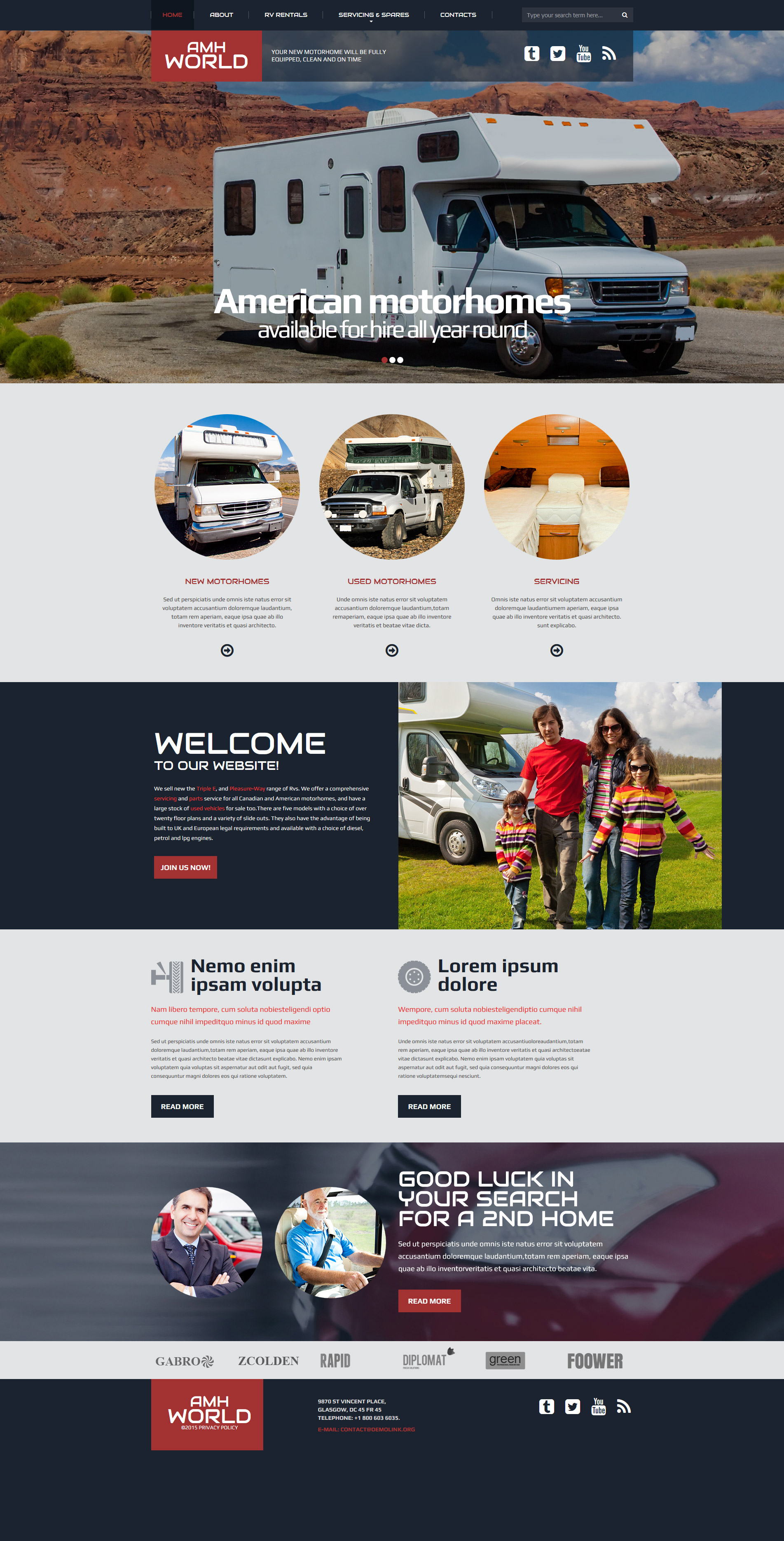 Motor Homes & RVs Responsive Website Template - screenshot