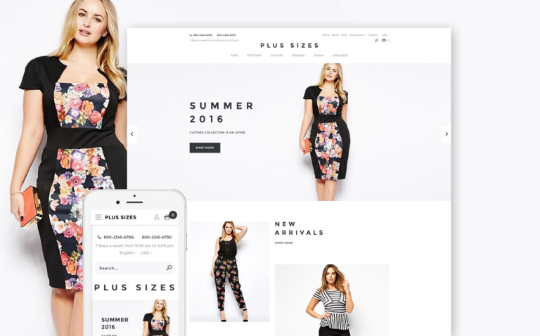 Plus Sizes OpenCart Template New Screenshots BIG
