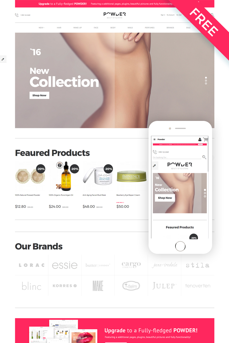 Powder - Cosmetics Store Modern Free OpenCart Template - screenshot