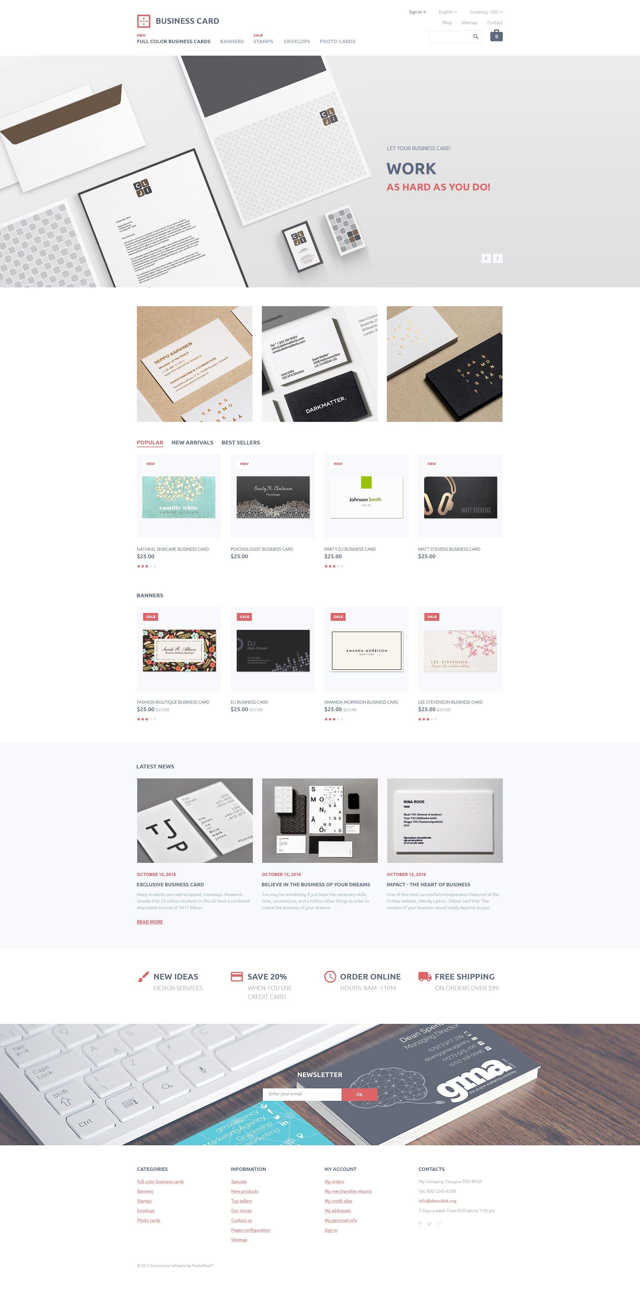 "PrestaShop Theme namens ""Business Card"" #58022 - Screenshot"