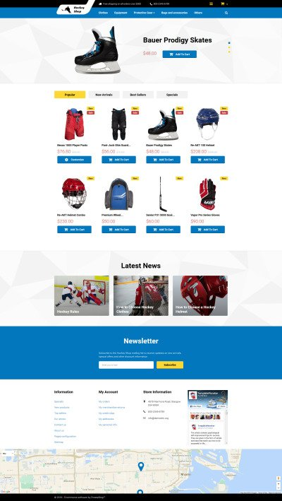 Hockey Responsive PrestaShop Thema