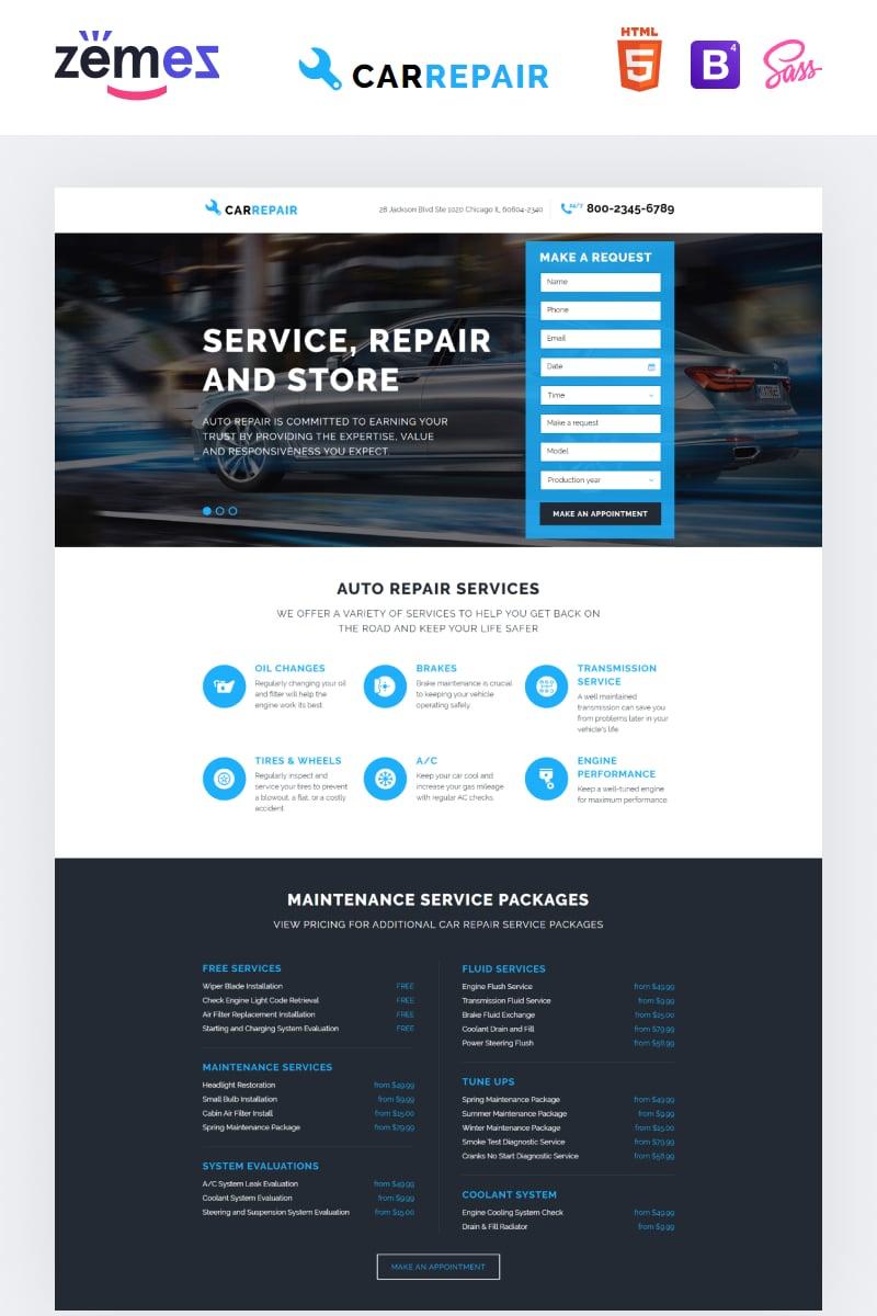 Reszponzív Autószerelői Nyítóoldal sablon 58068
