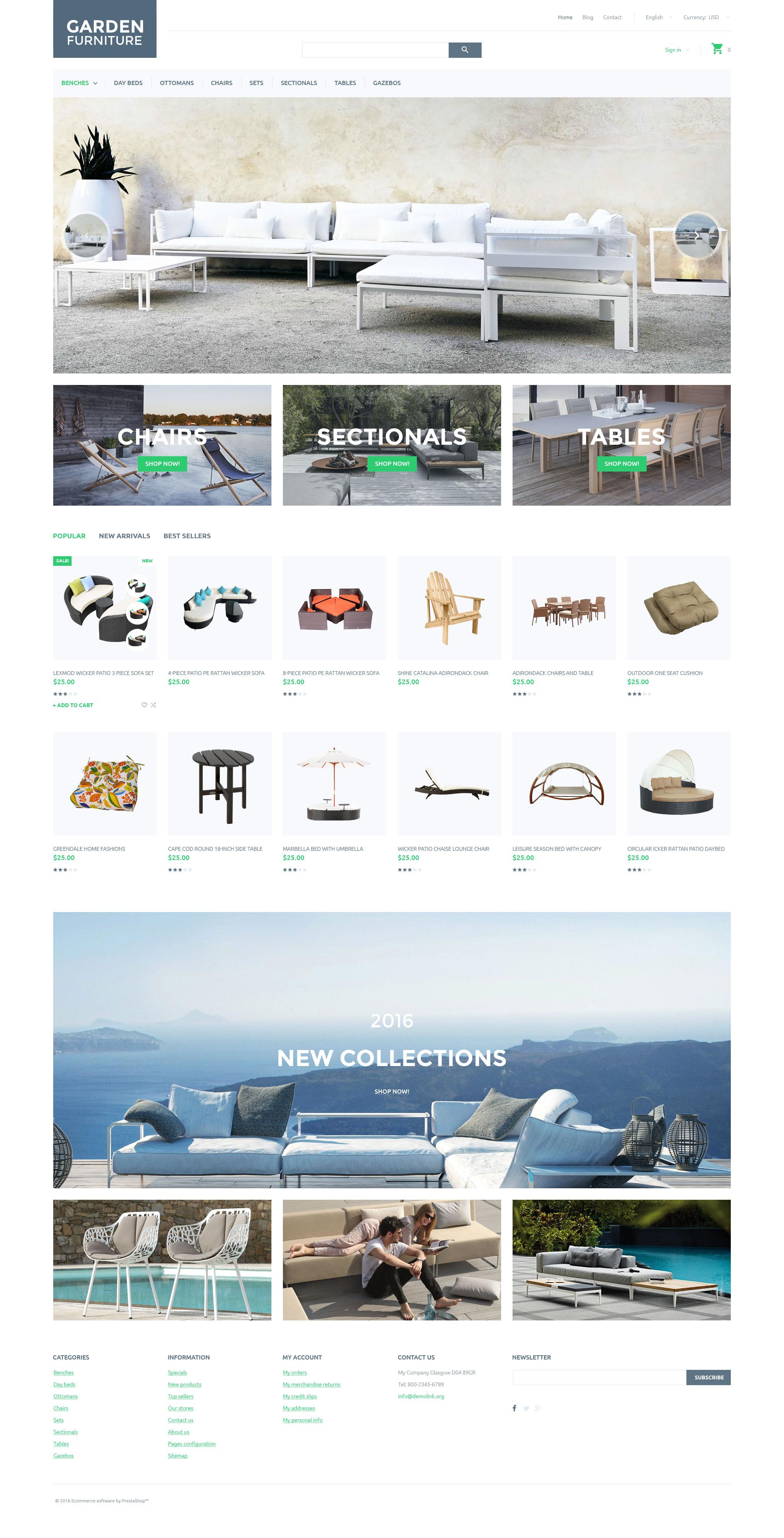 Reszponzív Garden Furniture PrestaShop sablon 58023 - képernyőkép