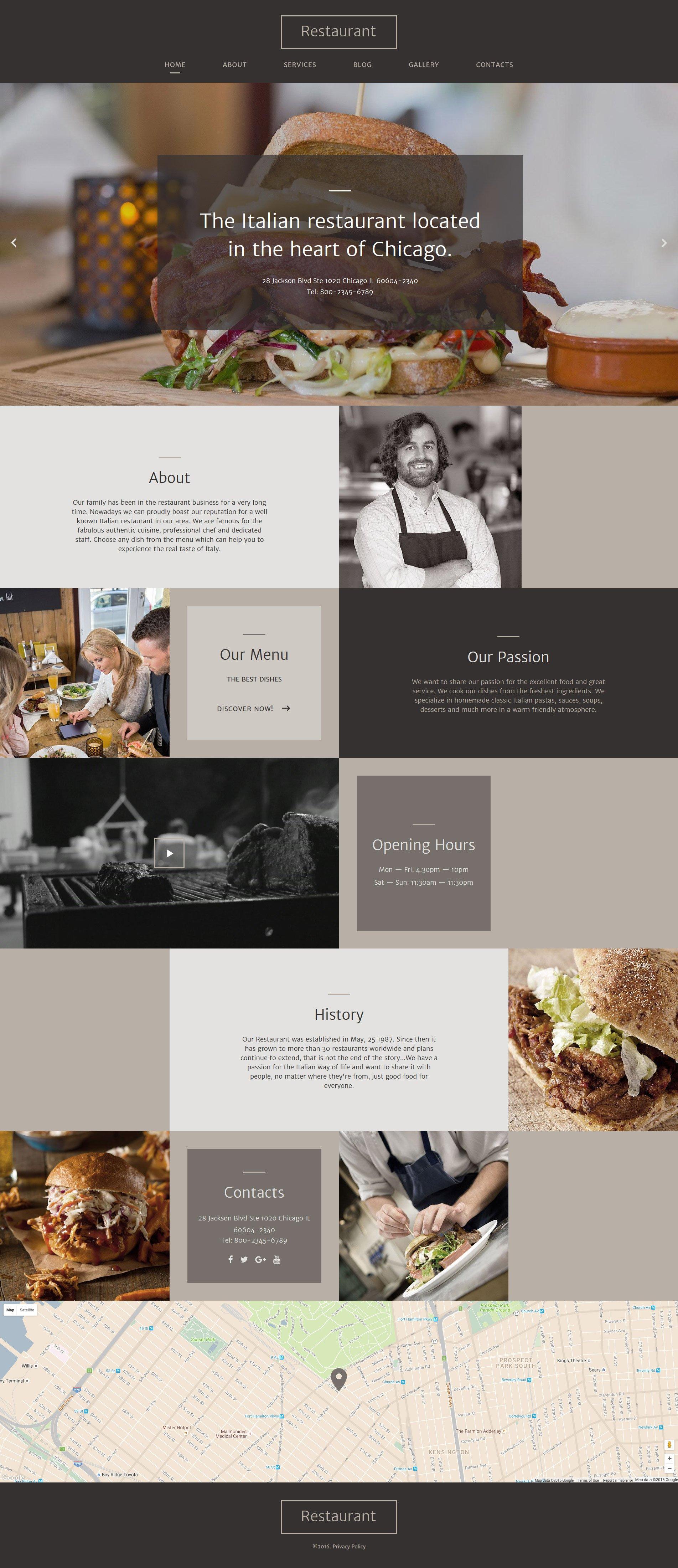 Reszponzív Italian Restaurant Responsive Weboldal sablon 58062 - képernyőkép