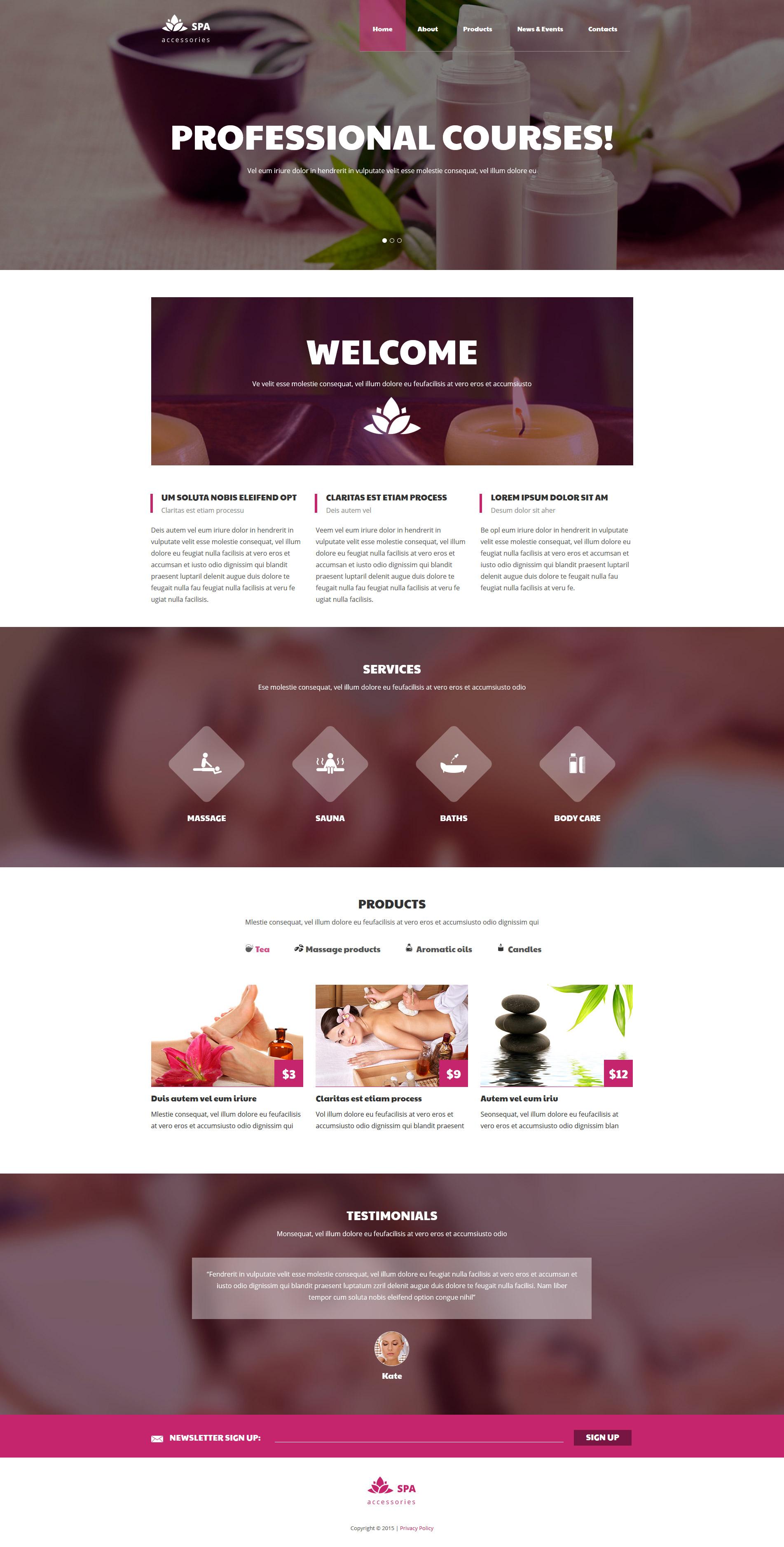 Reszponzív Spa kiegészítők témakörű Weboldal sablon 58076