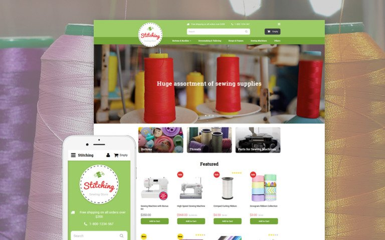 Sewing Store OpenCart Template New Screenshots BIG