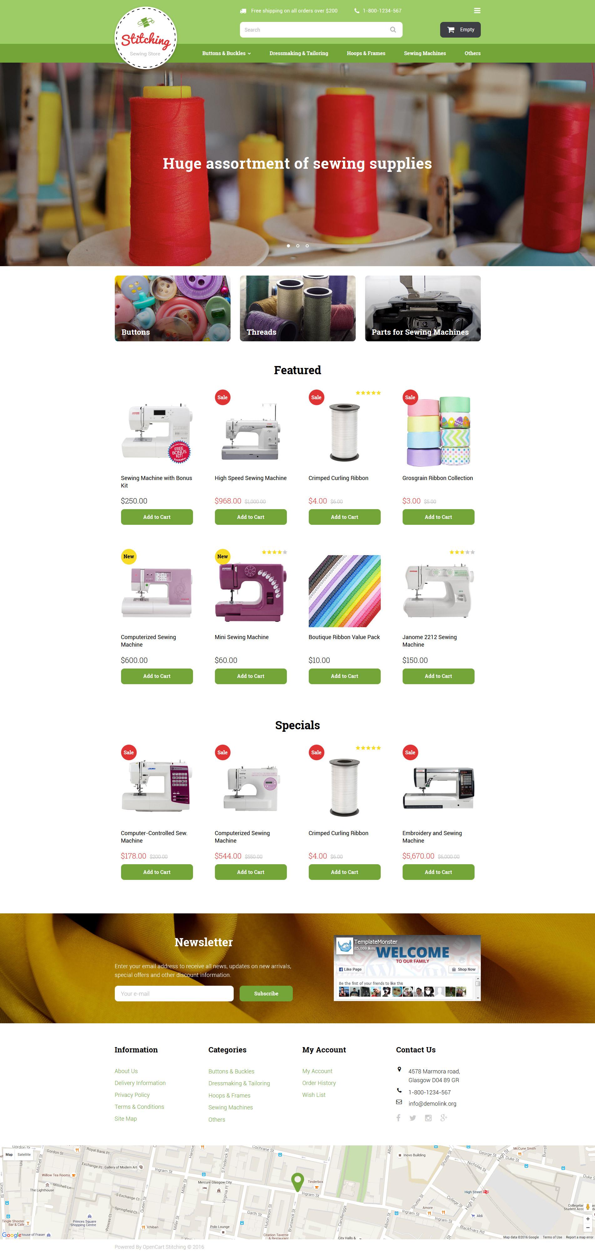 """""""Sewing Store"""" Responsive OpenCart Template №58054 - screenshot"""