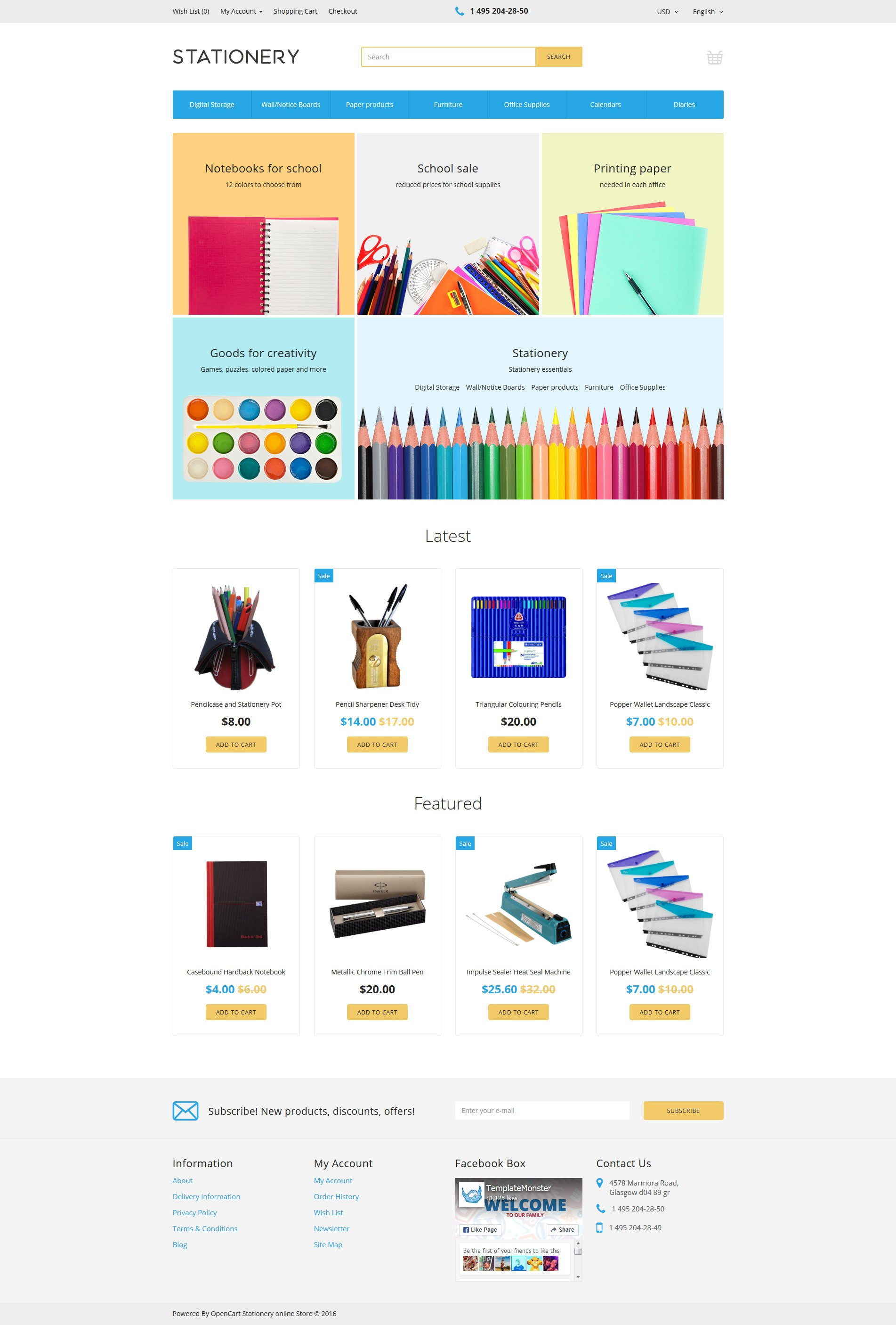 """""""Stationery"""" Responsive OpenCart Template №58027"""