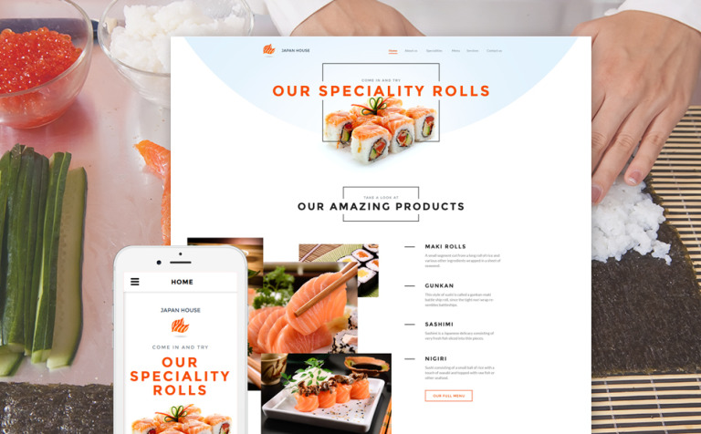 Sushi Bar Responsive Website Template #58056