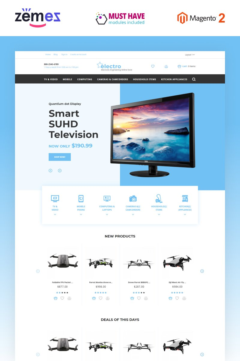 "Tema Magento ""Electro - Electronic Engineering Store"" #58050"