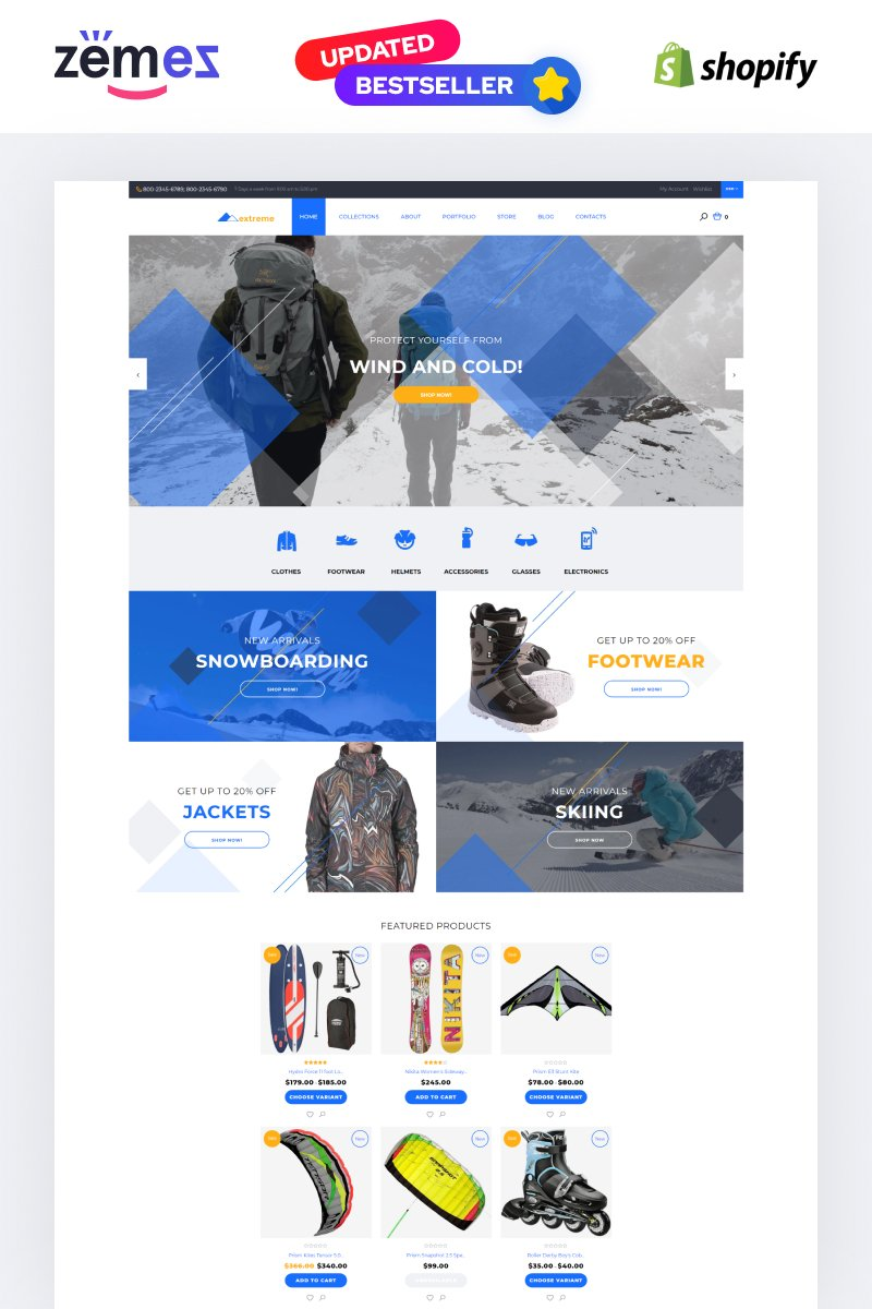 """Template Shopify Responsive #58030 """"Extreme"""""""
