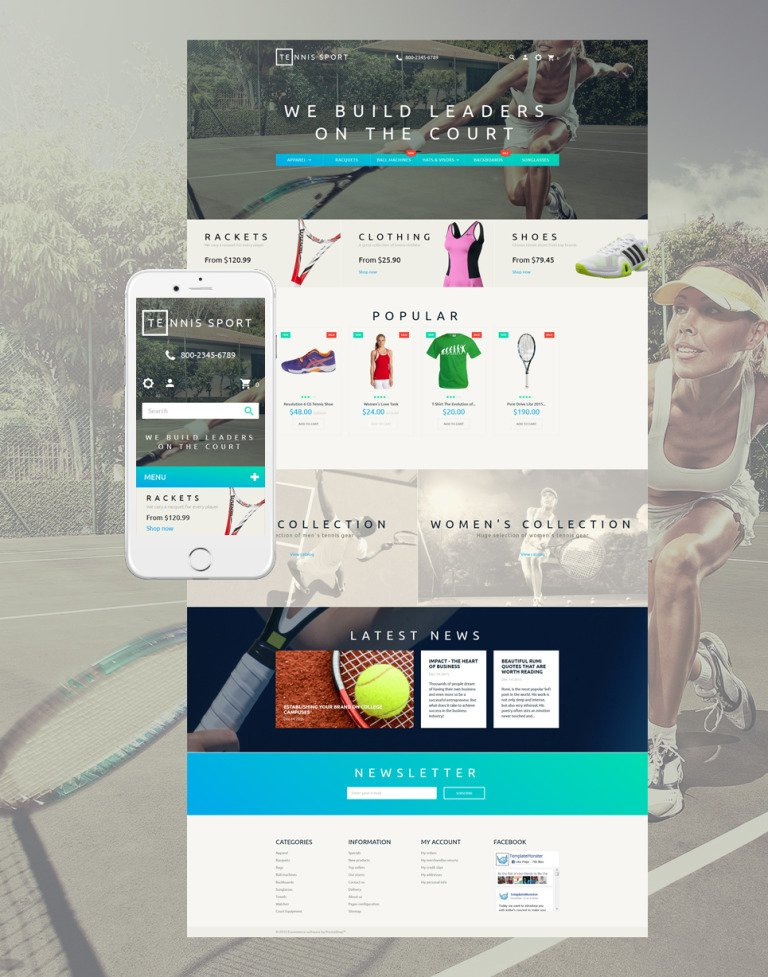 Tennis Sport PrestaShop Theme New Screenshots BIG