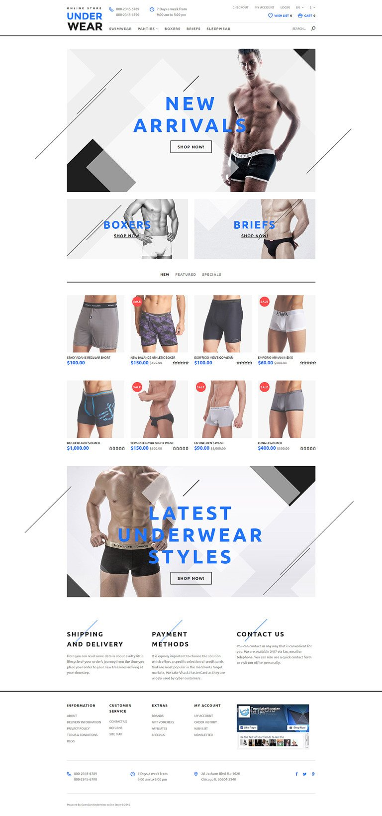 Underwear for Men OpenCart Template New Screenshots BIG