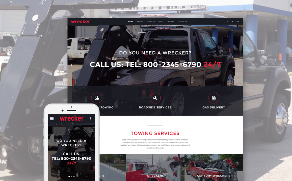 Wrecker - Auto Towing & Roadside Services template illustration image