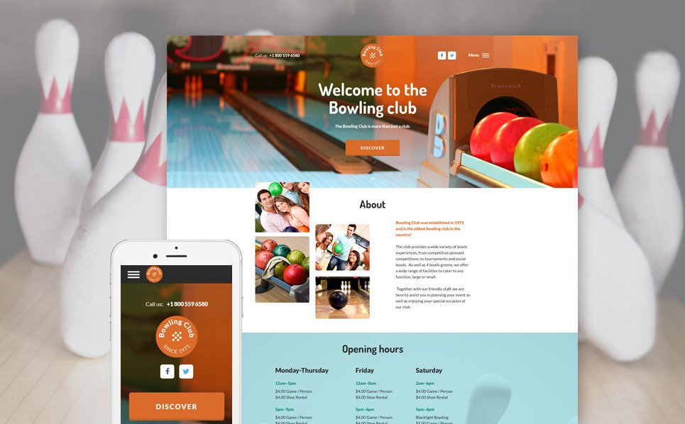 Reszponzív Bowling Weboldal sablon New Screenshots BIG