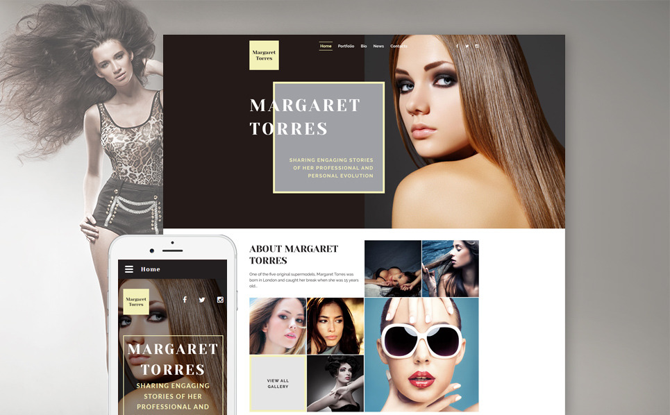 Responsive Website template over Model Portfolio New Screenshots BIG