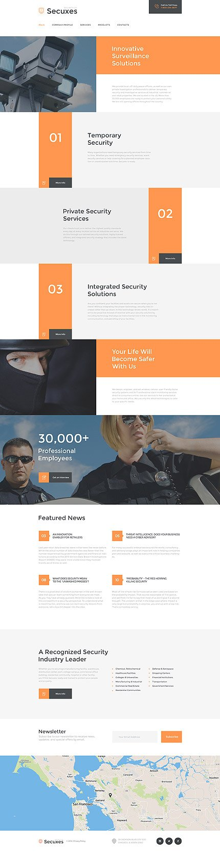 Template #58133 Securico Security Responsive Template - Desktop Layout