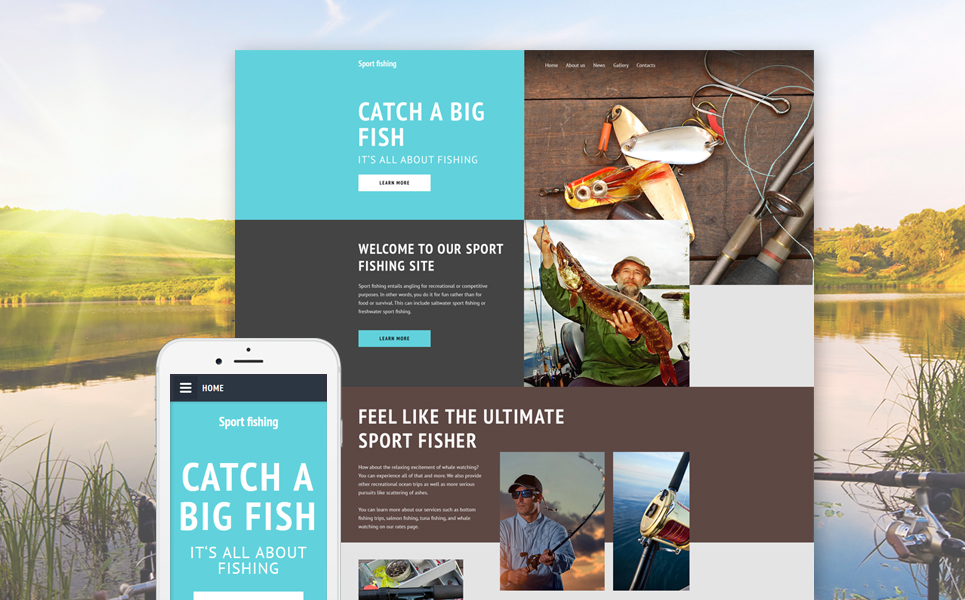 Sport Fishing template illustration image