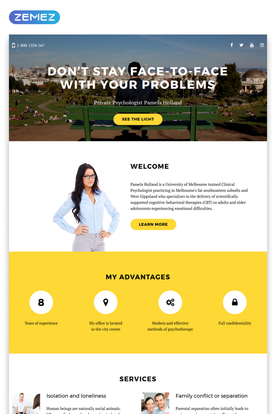 jquery landing page templates - psychologist responsive landing page template 58162 by