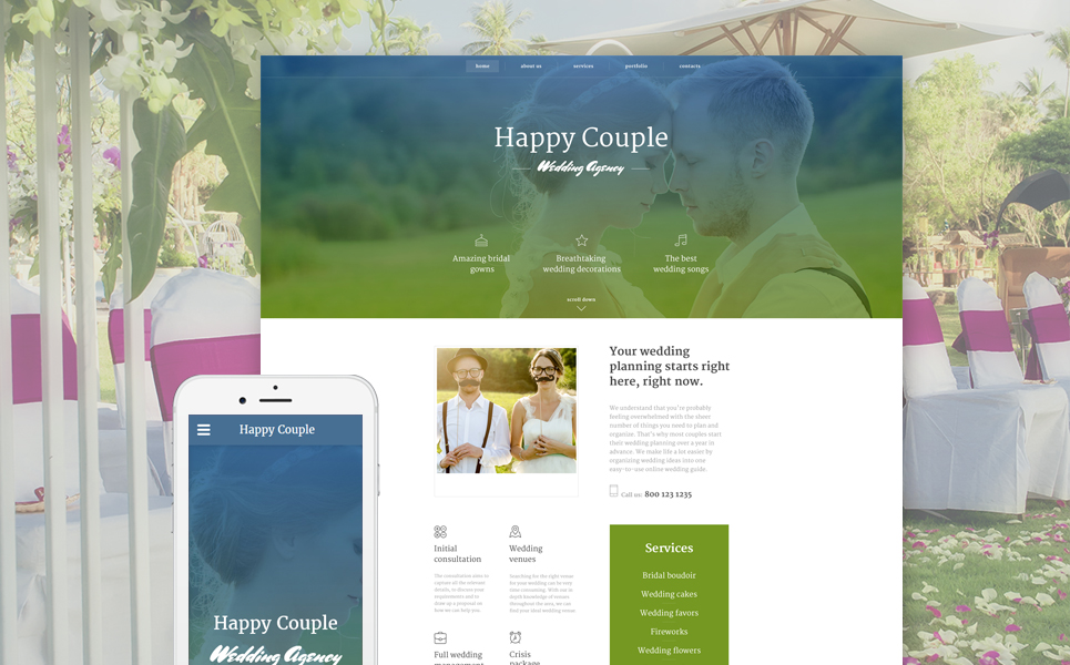 Happy Couple template illustration image