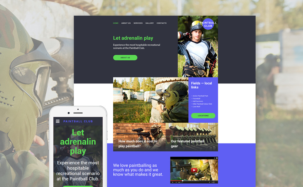 Responsive Website template over Paintball New Screenshots BIG
