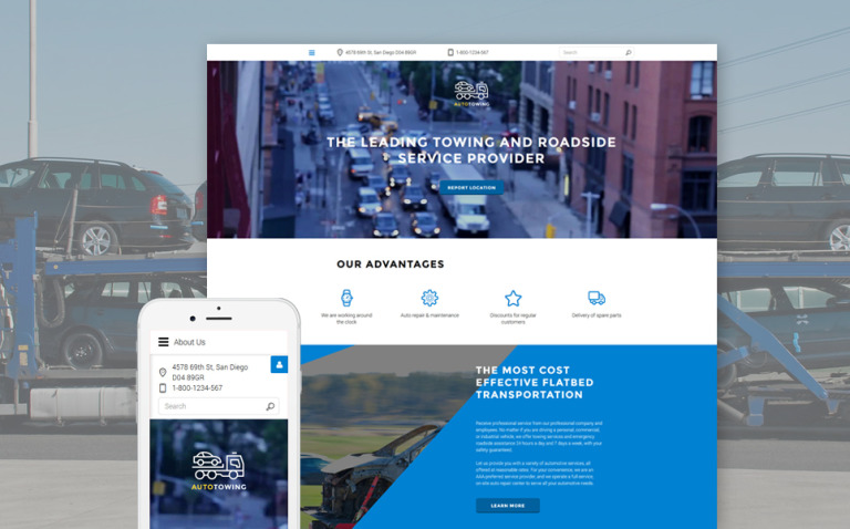 Auto Towing Responsive Joomla Template New Screenshots BIG