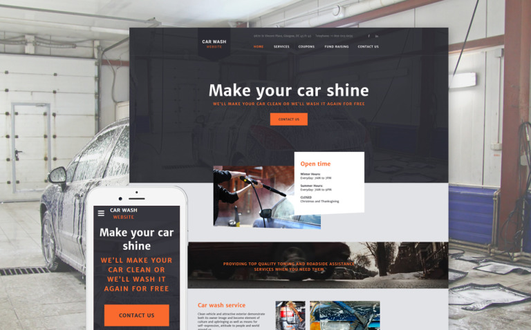CarWash Website Template New Screenshots BIG