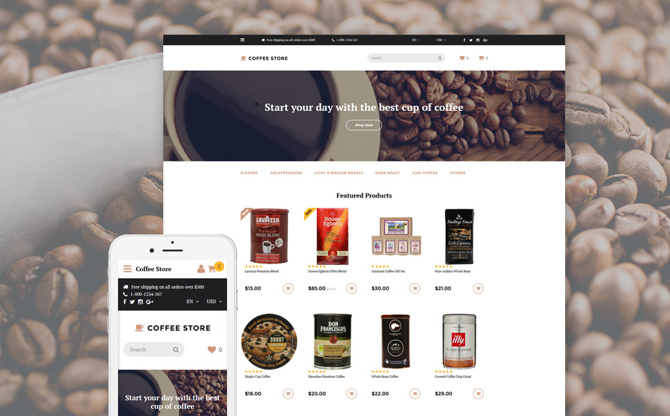 Coffee Store OpenCart Template New Screenshots BIG