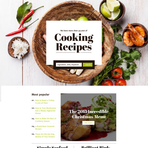 Cooking Recipes - Responsive Landing Page Template