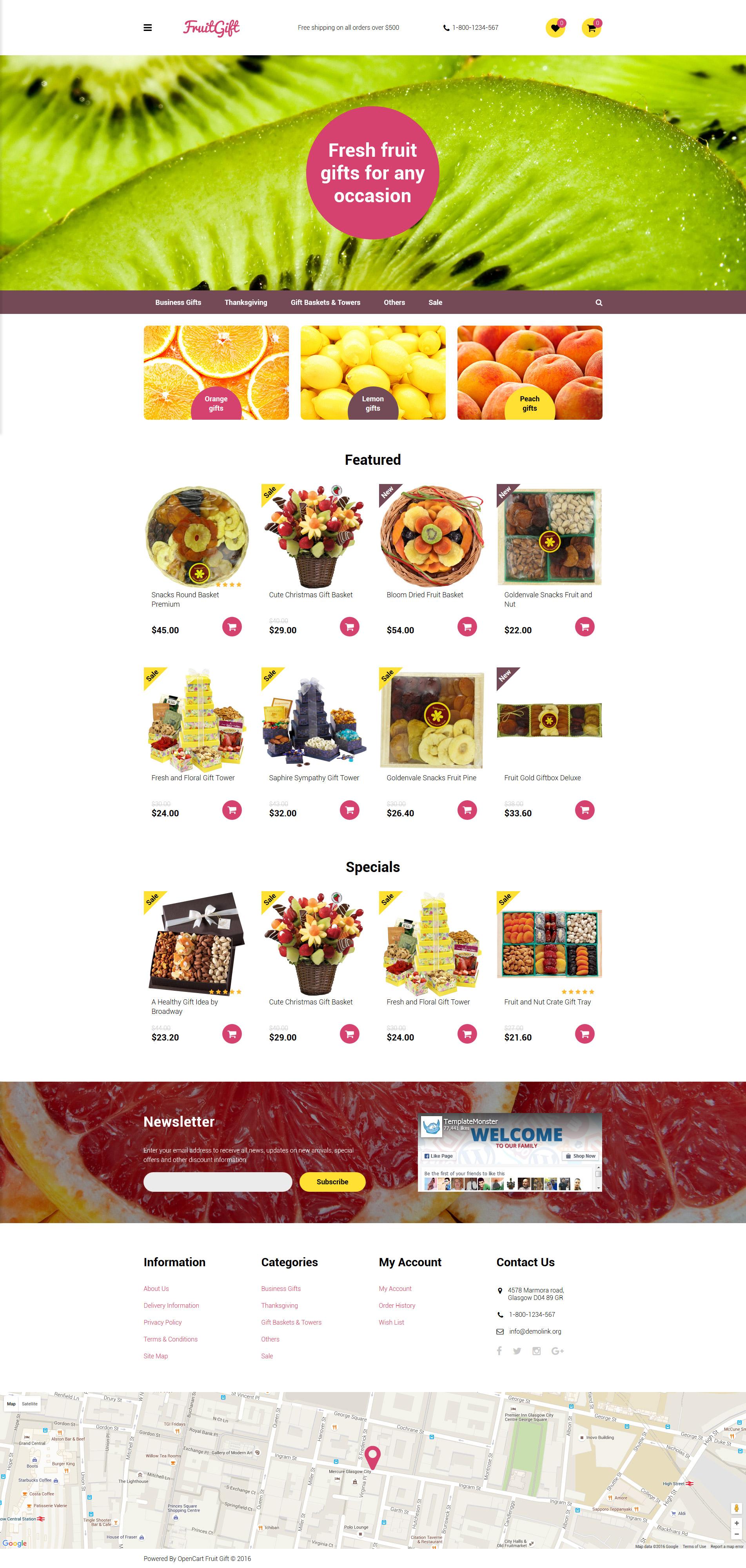 Fruit Gifts OpenCart Template - screenshot
