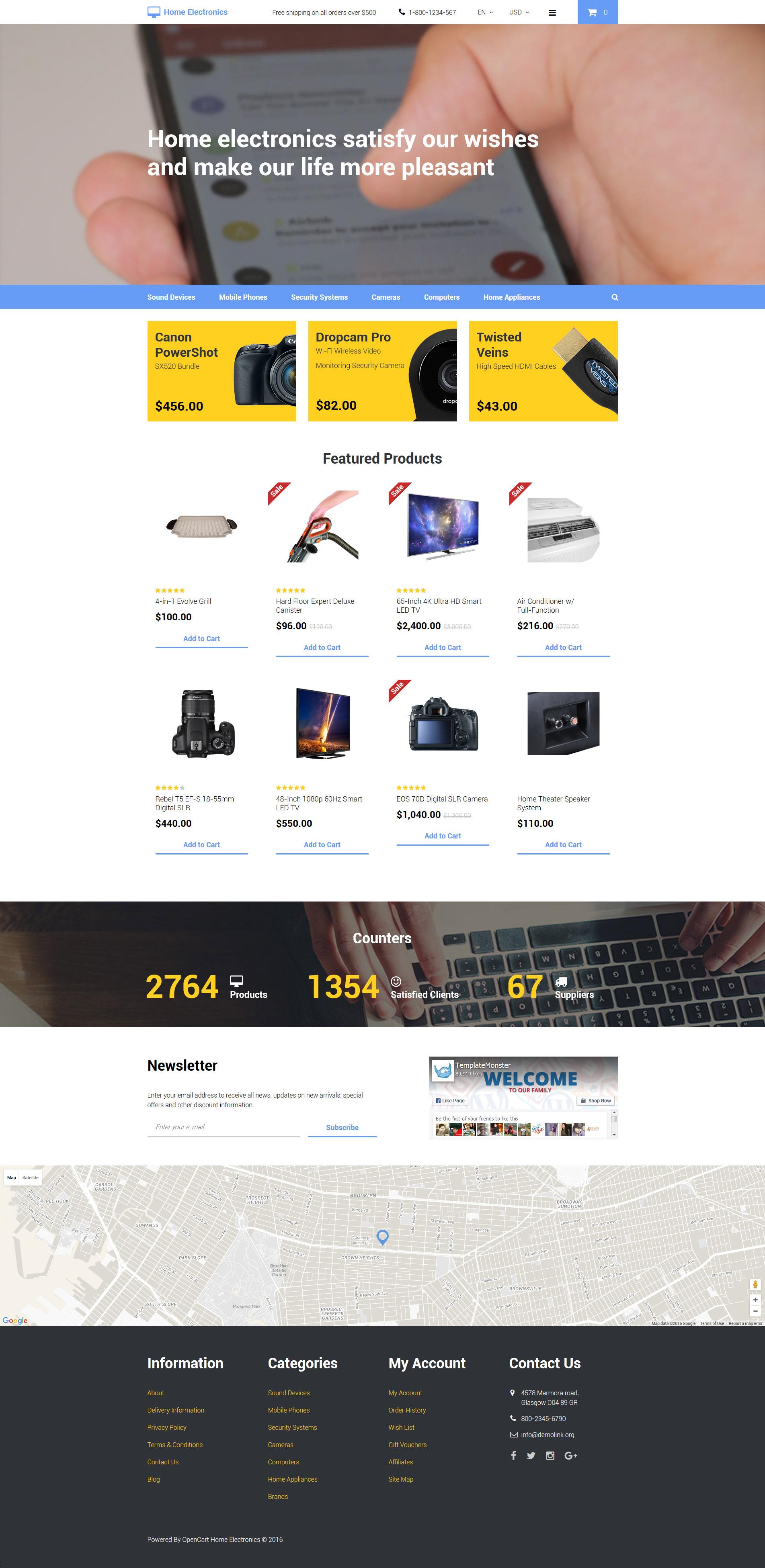 """Home Electronics"" - адаптивний OpenCart шаблон №58140"