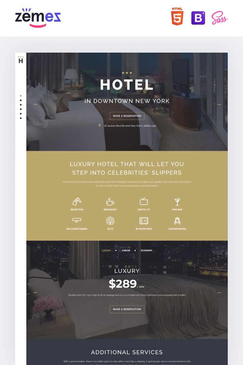 """""""HOTEL - Travel Stylish HTML"""" - адаптивний Шаблон цільової сторінки №58112"""
