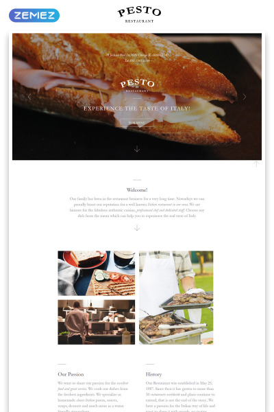Italian Restaurant Responsive Landing Page Template #58125