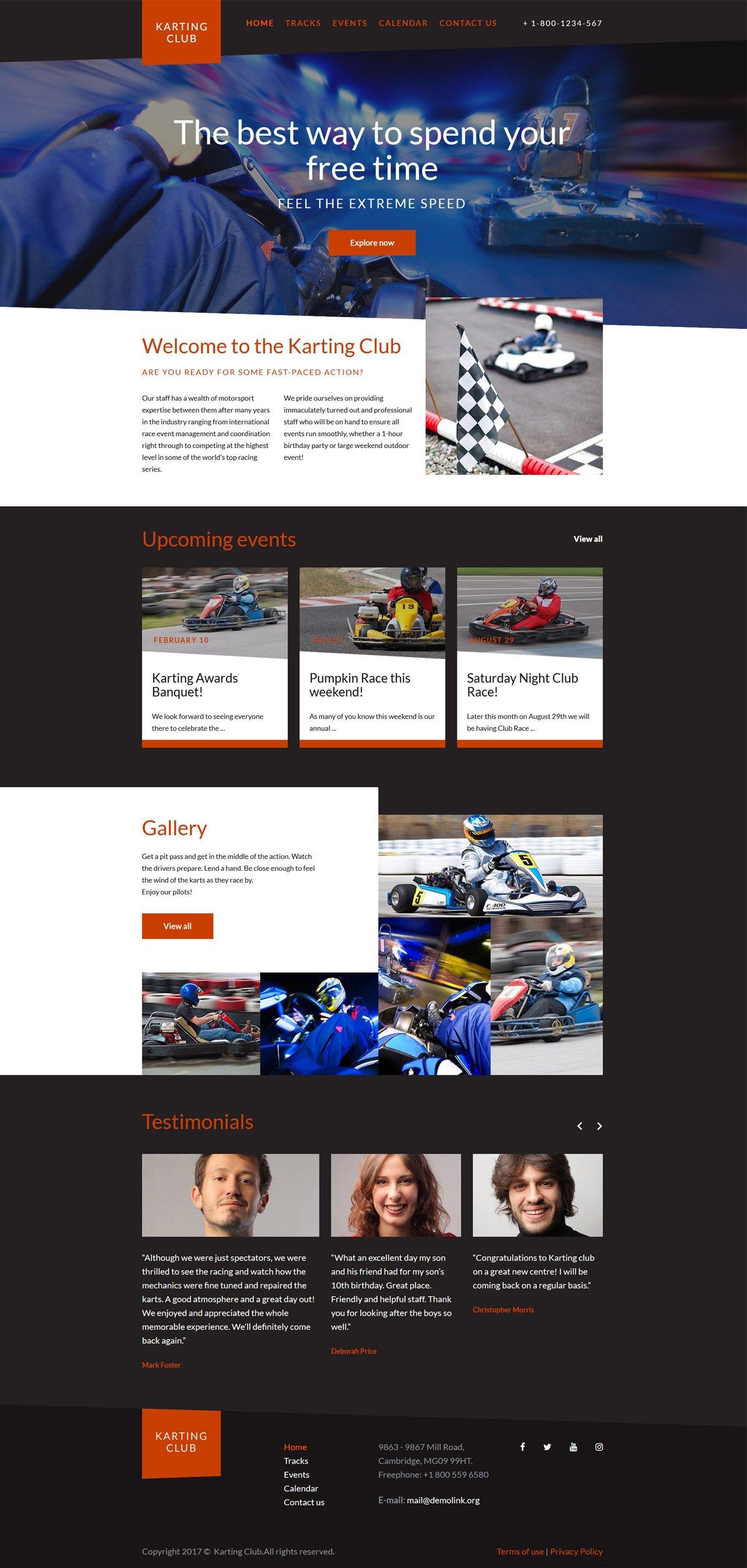 Karting Club - Karting Club Responsive Website Template