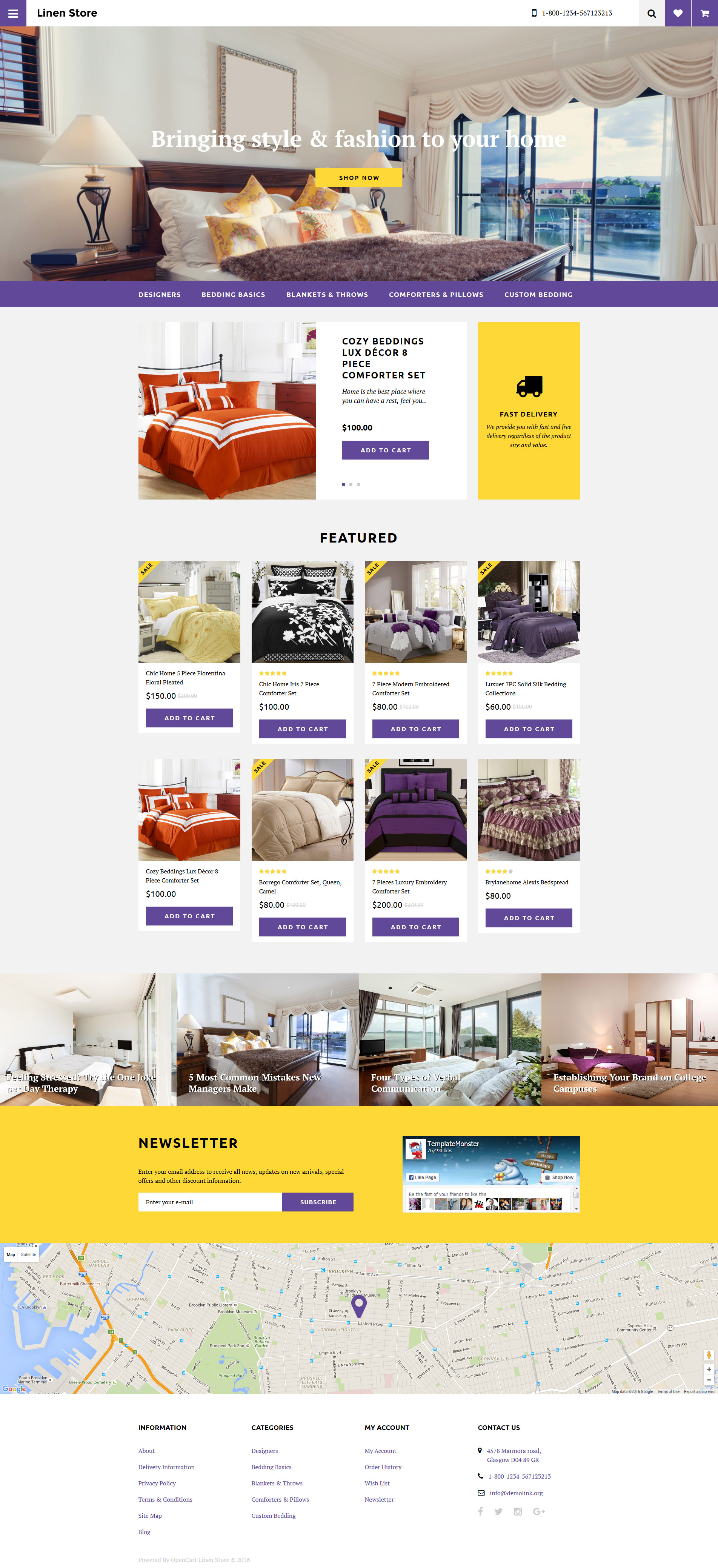 Bed linen opencart theme for Opencart bookstore template