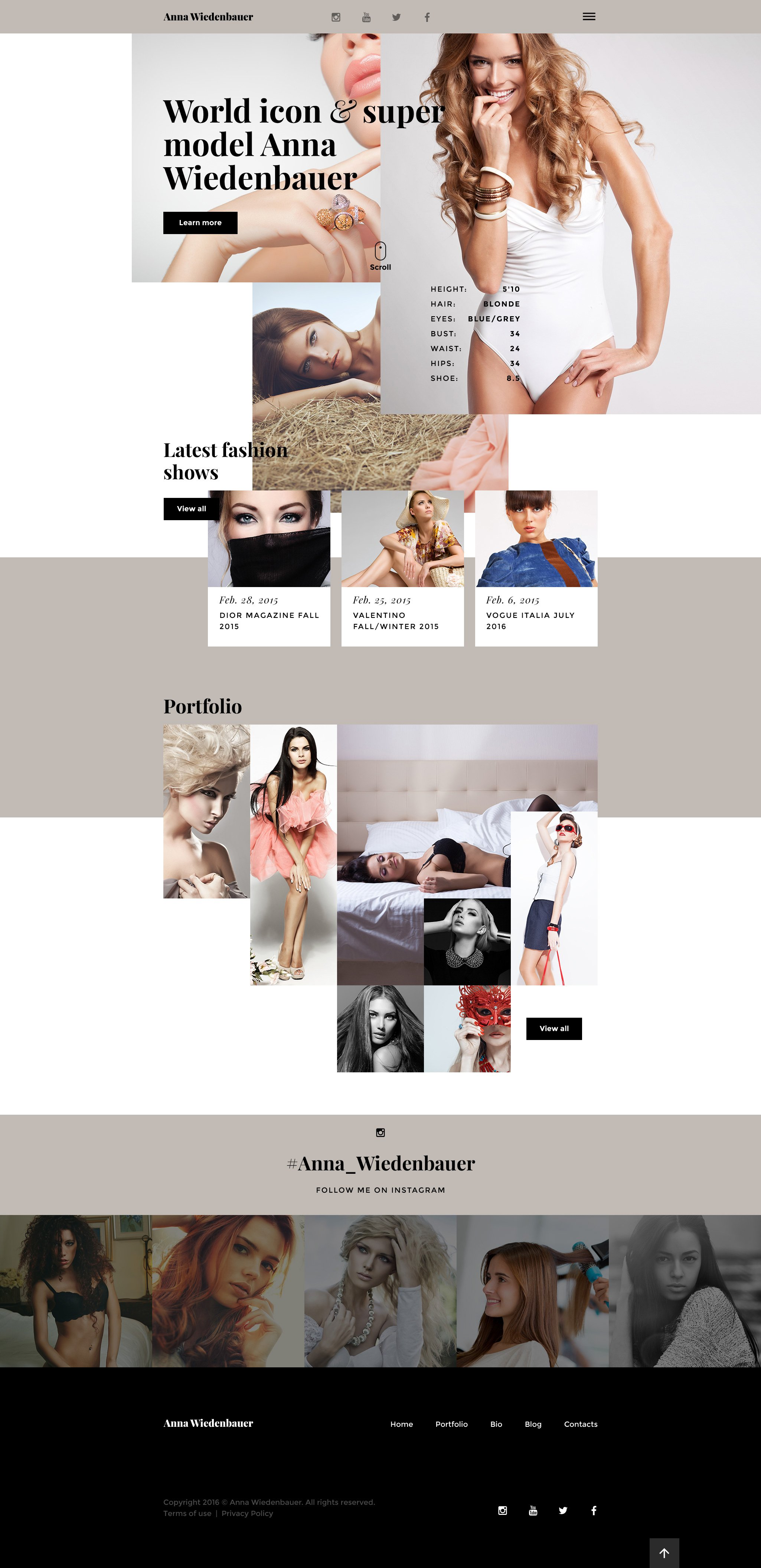 model portfolio website template. Black Bedroom Furniture Sets. Home Design Ideas