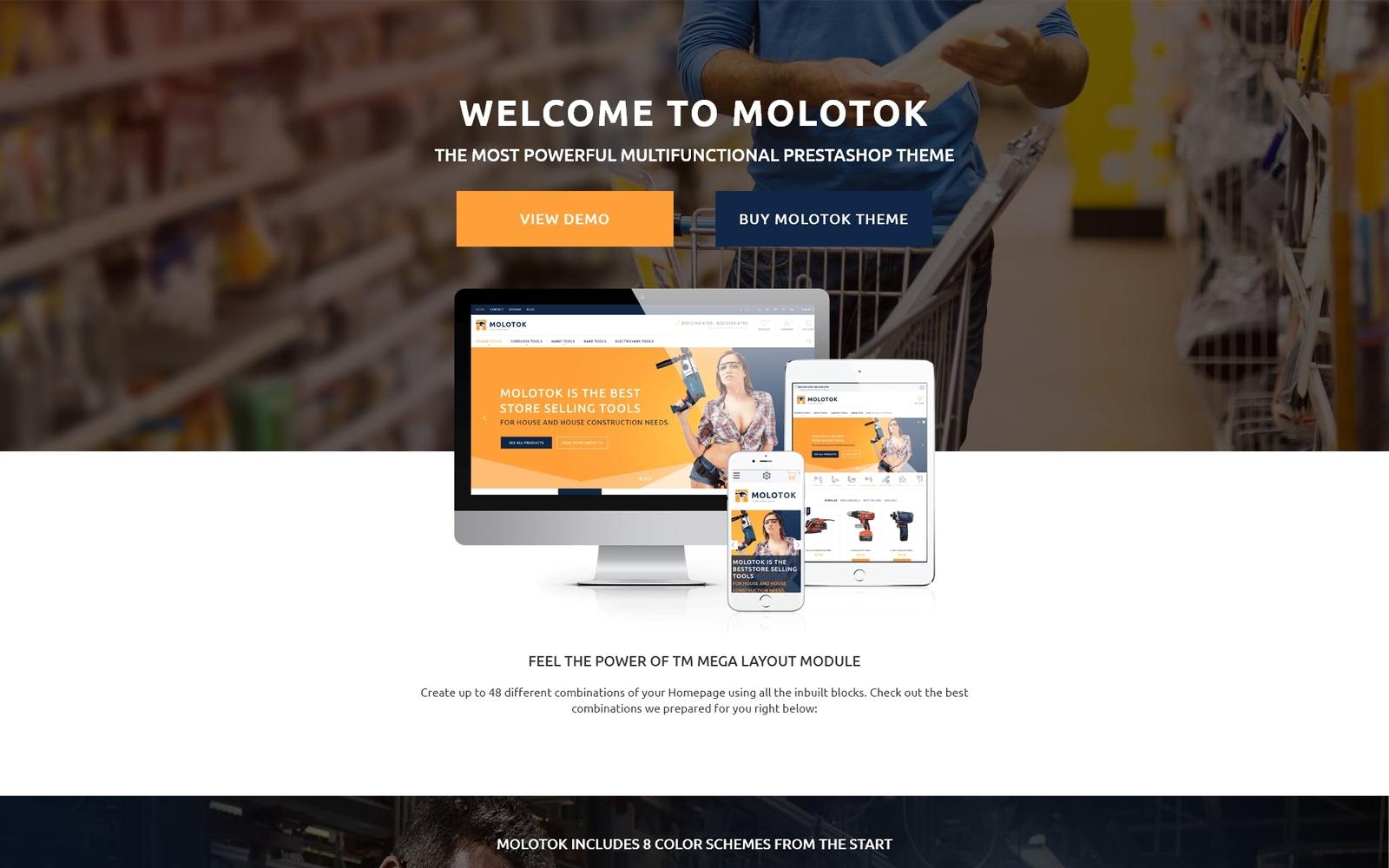 """Molotok - Hardware Tools eCommerce Template"" 响应式PrestaShop模板 #58148"