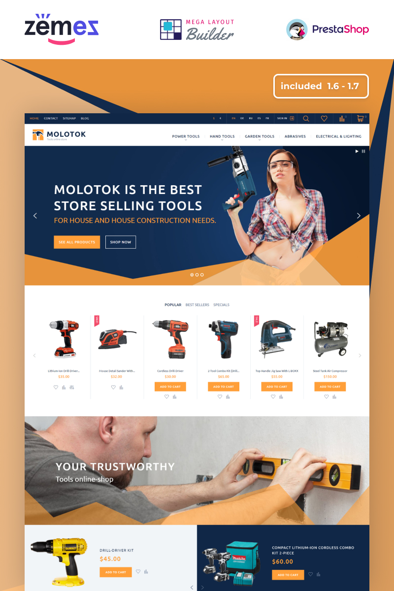 """Molotok - Tools Store Template"" 响应式PrestaShop模板 #58148"