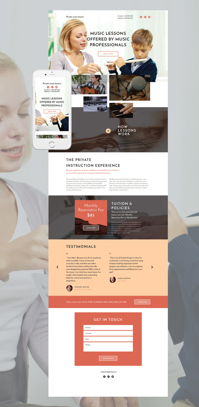 Music School Responsive Landing Page Template New Screenshots BIG